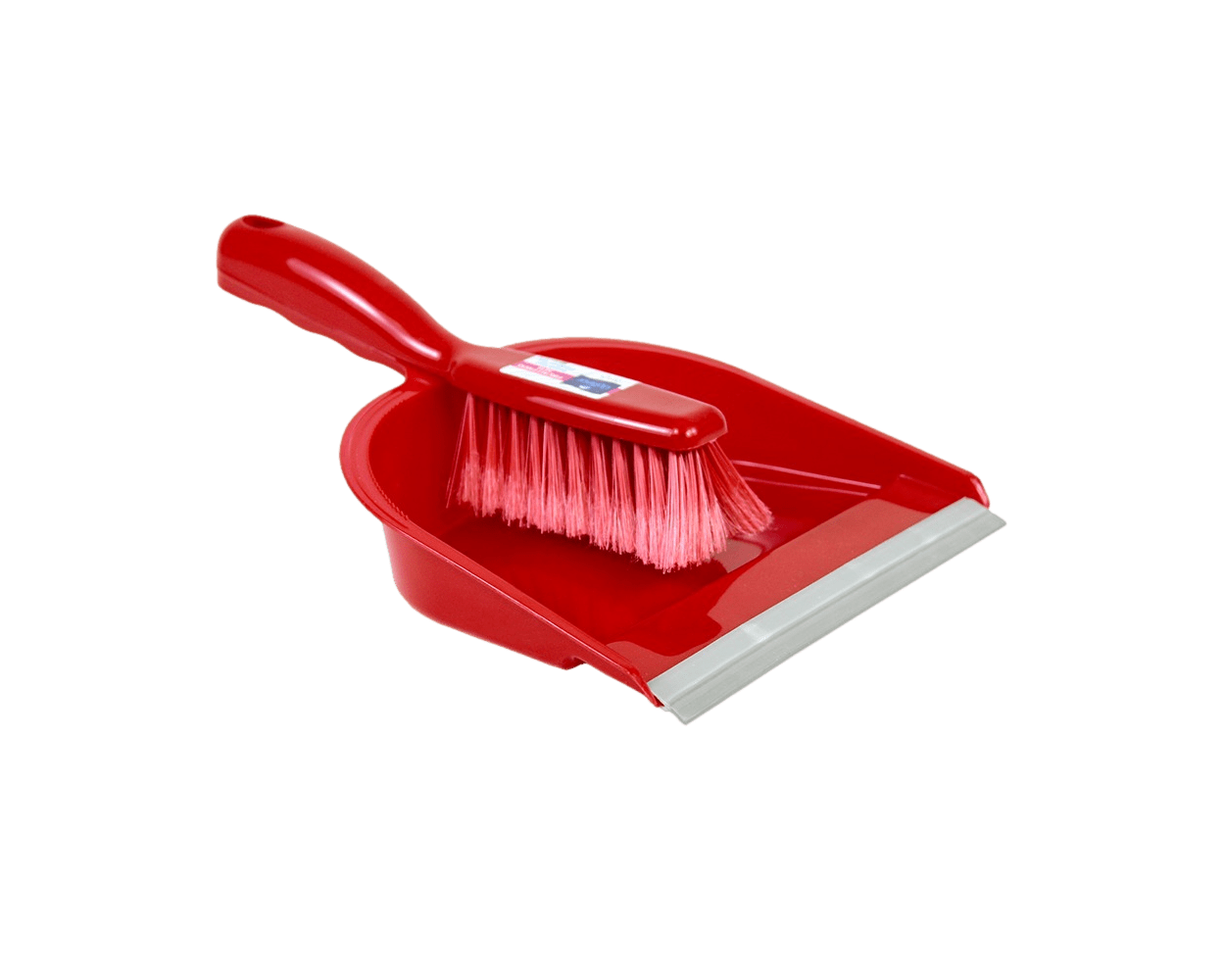 brush and dustpan red