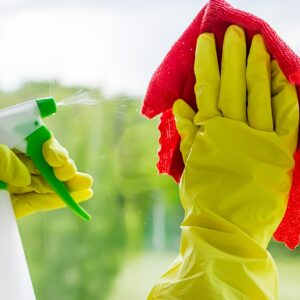 Washing windows. Woman sprays a detergent and wipes the glass. Home cleaning concept.