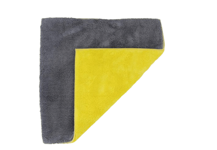 Double Sided Car Cleaning Microfiber Cloth Grey Yellow
