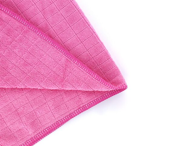 General Cleaning Microfiber Checkered Cloth Pink